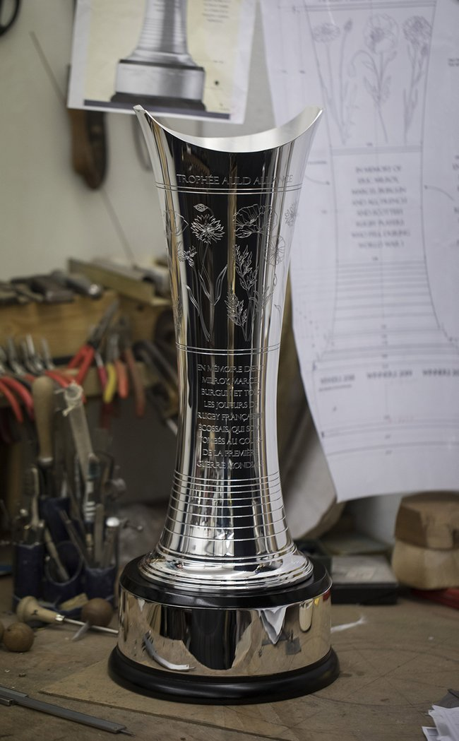 Auld Alliance Trophy on the work bench