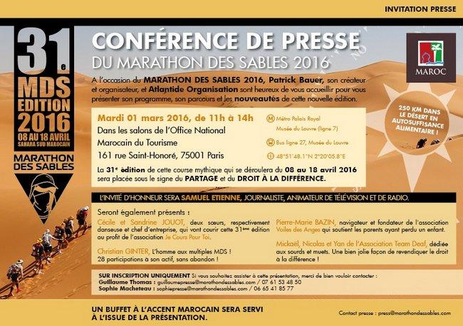 Conférence de presse sur le MARATHON DES SABLES 2016, le mardi 1er mars 2016