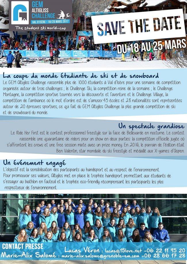 Coupe du monde étudiante de ski à Val d'Isère (18-25 mars 2017)