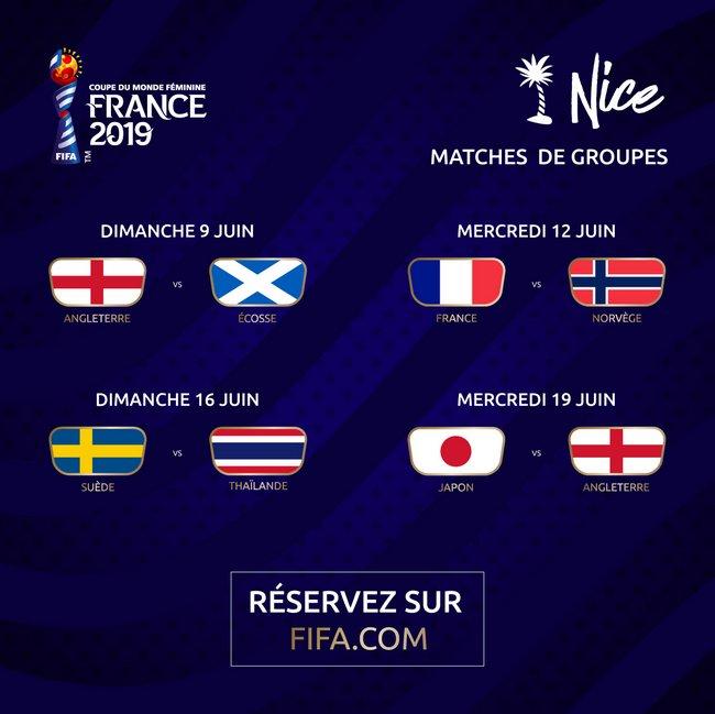 Coupe du Monde Féminine de la FIFA, France 2019, le calendrier des matches à Nice 2