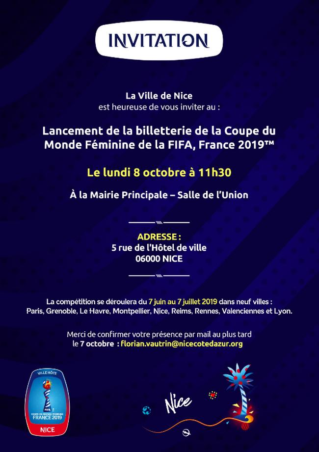 Lancement de la billetterie Coupe du Monde Féminine de la FIFA 2019 - Nice