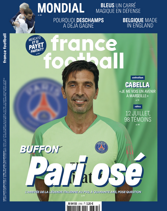Le transfert de Gianluigi Buffon au Paris-SG à la une de France Football
